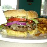 Love shack burger with swiss cheese and sautd onion for 7.99$ with fries .. Yummayyy