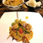 Prawn Green Curry with bamboo shoots and basil