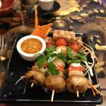 Tofu and Mushroom veg skewers with peanut sauce
