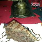 Complementary chocolate cake and Turkish coffee