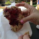 A portion of the Raspberry Chocolate Chip Cookie.  My sister said this was one of the best cooki