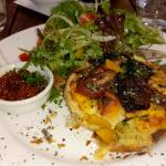 Vegetable tart with the most amazing relish