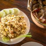 Savan Lao Deam - shrimp fried rice and tom yam soup
