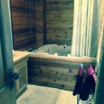 Our (Cab Rm) Jacuzzi tub/shower. Jets didn't function, but tub & shower worked.Lots of towels.