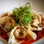 Steamed prawn wontons with organic brown rice vinegar dressing