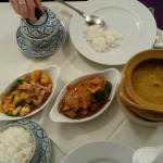Sweet & Sour Chicken, Jasmine Rice, Beef in Coconut Sauce & a large curry too