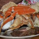 This a All You Can Eat platter - Crab Legs, Prime Rib roast, steak, potatoes, corn, etc - YUMMY