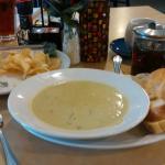 Asparag    Cream of Asparagus soup, loose Earl Grey tea. Half of hubby's Half Pecan Chicken wrap