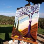 I paint 'TreeForm'. I created 'Francesca' while staying in The Tower, in our private outdoor are