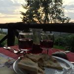 House wine a wonderful garlic bread
