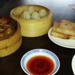 Mussells, Shanghai mini pork dumplings and radish cake