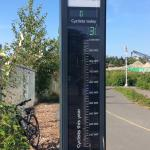 Counter showing number of bikes thru the trails., almost 300,000 this year