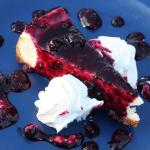 New York style cheesecake with wild blueberry topping