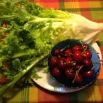 Cherries and lettuce from Giuseppe's tree and garden