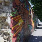 'Berlijse muur' aan de overzijde van het hotel.