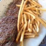Churrasco steak and fries delicious!  Fruit salad is a healthy side dish option