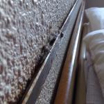 Tête de lit avec barre en métal au dessus remplit de poussière