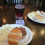 pulled pork sandwich with Crispin ale and turkey sandwich