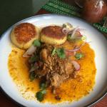 Pernil - Pulled pork, avocado, potato cakes filled with cheese