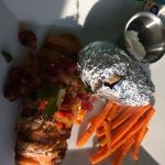Grilled salmon with cherry salsa