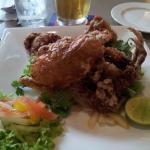 Deep fried soft shell crabs