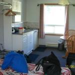 View of kitchen area from door.