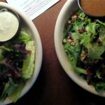 The salads - house on the left and caramalized pear and walnut on the right