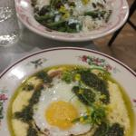 Rice bowl in the background and nettle polenta in the foreground.