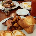 Popover , Rustic breakfast and bloody mary .