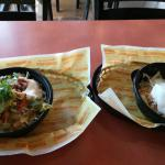 Two baja bowls made by the same person, drastically different in size.