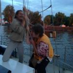 Helping put up the sail!