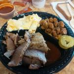 Large brisket plate with fried okra and mac and cheese.