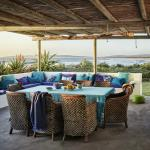 Sheltered patio with sea views