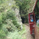 Power van going into one of the tunnels through the mountain