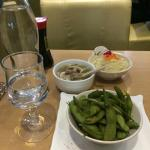 Edamame, soup, salad