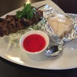 BBQ pork, sticky rice lunch plate