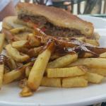 Club, fries and gravy, The Island Restaurant  |  101 Gould's Island, Golden, British Columbia V0