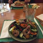 House salad with shrimp and Nina's Bear sandwich