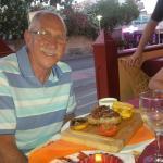 enjoying steak!