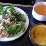 trio salad, carrot soup & cream brulee