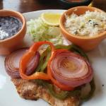 Salmon En Lima - w black beans and should have been a choice of baked potato or rice - never off