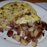 Corned beef hash omelet.