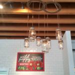 Cool old ceilers used for lighting, Wild Poppy Bistro  |  541 First Avenue, Ladysmith, British C