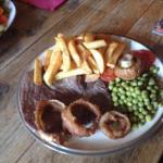 Pork and steak meals plus child's meal. Huge portions. Good value