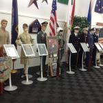 Display of uniforms of the various branches of military