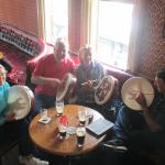 Our group learning the bodhran