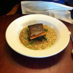 Sea trout and seafood risotto