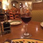 Savoring a good wine at Oliver Garden