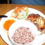 The Boyfriend's Roast chicken, purple rice and cucumber.