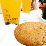 cookie, base thé vert, saveur mangue perles passion et billes de tapioca